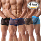 Men's Underwear Sexy Mesh Breathable Boxer Briefs Low Rise Cool Boxers Pack Set