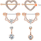 LOYALLOOK 14G Belly Betton Rings Surgical Steel Nipplerings Piercing Jewelry Belly Rings Set for Women 3 Pairs