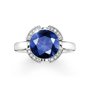 "THOMAS SABO SOLITAIRE RING ""SIGNATURE LINE DARK BLUE PAVÉ"""